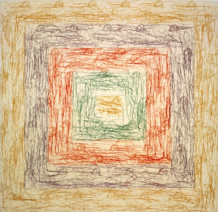 Ghada Amer (American, born Egypt, 1963). The New Albers, 2002. Embroidery and gel medium on canvas. Collection of the artist, courtesy of Gagosian Gallery